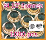 1000 #4 1/2'' Grommet and Washer Brass Eyelet w/ Die Set Grommets Machine Sign Punch Tool