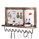 SRIWATANA Jewelry Wall Organizer, Metal Wood Wall Mount Jewelry Holder, Necklace, Earrings, Rings, Lipstick Holder Organizer with Makeup Mirror