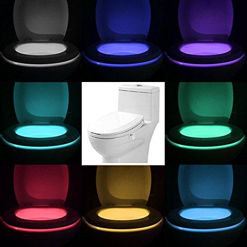 Toilet Night Light Advanced 16-Color Motion Activated New Toilet Night Light, LED Toilet Seat Nightlight, Motion Sensor Toilet Bowl Light, Splash Proof for Kids Pregnant women Old People in - Customizable Bowl Fixture Light