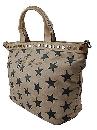 CAPRIUM Shopper Handtasche Zeitlos mit Sternen, Schultertasche, Umhängetasche, Damen 000019 Taupe