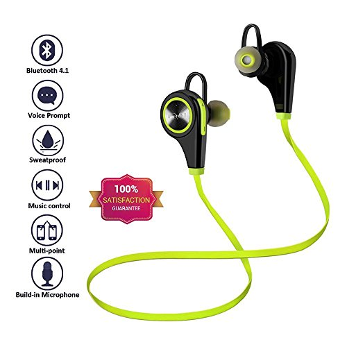 Headphones Bluetooth Wireless -Chnano Sport Running Earbuds Headset Earphones with Mic Noise Cancelling Sweatproof for Samsung iWatch iPhone 7/7 Plus/More-Lime Green