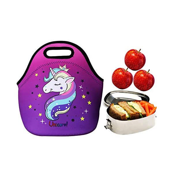 Cute Unicorn Lunch Bag for Kids, Waterproof Insulated Neoprene Lunch Tote with Zipper for School Work Outdoor (Purple002… 6
