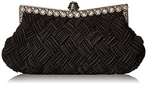 Afibi Women's Evening Bridesmaid Clutch Jeweled Pleated Cocktail Party Handbag One Size Black