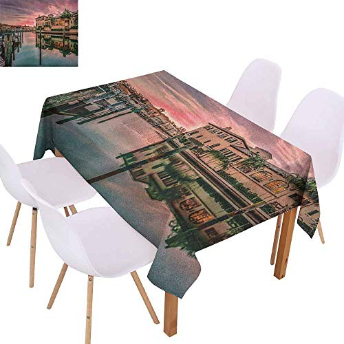 Elegance Engineered Tablecloth Cityscape Colorful Sunrise Over Venetian Bay Naples Florida Apartments Trees Waterscape Picnic W70 xL84 Purple Green