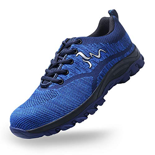 SUADEX Steel Toe Shoes for Men and Women Industrial Construction Work Safety Shoes Sneakers, Outdoor Hiking Trekking Trail Composite Shoes 118-Blue Size 12.5 Women / 11 Men