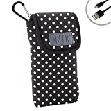 Handheld GPS Carrying Case for Garmin eTrex 10 Worldwide , 30x , Approach G8 , Magellan eXplorist 350H and More Units - Belt Loop , Clip , and Hook & Loop Enclosure by USA GEAR - Polka Dot