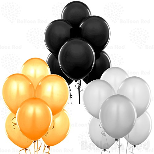 12 Inch Pearlized Latex Balloons (Premium Helium Quality), Pack of 72, Metallic Gold, Metallic Silver, Black -
