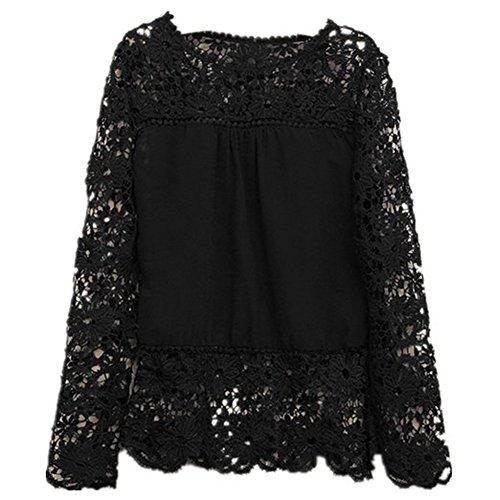 Lovaru Women's Lace Sleeve Chiffon Patchwork Shirt Fashion Blouse