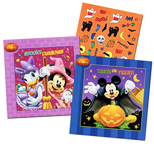 Disney Mickey Mouse and Minnie Mouse Halloween Board Book Set For Kids Toddlers with Halloween Stickers(Set of 2 Small Board Books)