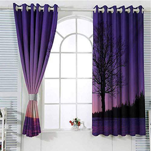 Tree Patio Door Curtains for Bedroom Oak Tree at Sunset Snowy Field Wintertime Nature Landscape Wilderness Scene Print Thermal Insulated Noise Reducing W72 x L84 Inch Puple Black (Patio External Doors Oak)