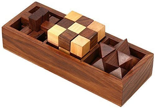 ITOS365 Wooden Puzzle 3 in 1 Games Set , Includes Wood Interlocking Blocks, Diagonal Burr, and Snake Cube in 7.25 x 2.8 x 1.5 Inches Storage Box