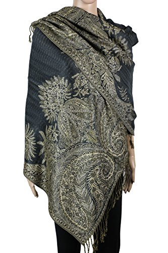 Floral Jacquard Scarf - Achillea Luxurious Big Paisley Jacquard Layered Woven Pashmina Shawl Wrap Scarf Stole (Charcoal Grey)