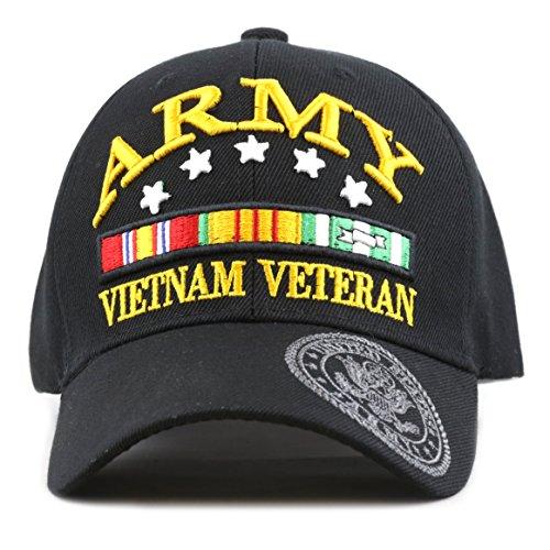 THE HAT DEPOT Official Licensed 3D Army Vietnam Veteran Ribbon Logo Cap (Army)