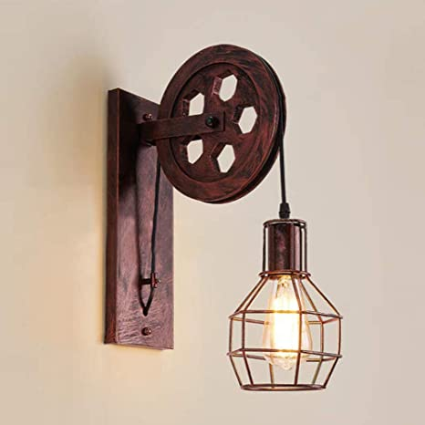 huge discount f0f43 df5ce NIUYAO Industrial Retro Iron Wall Sconce Pulley Wall Lamp Vintage 1 Light  Extendable Wall Lighting Fixture with Wire Cage Lamp Shade for Living Room  ...
