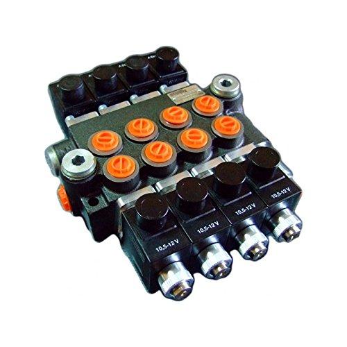 Hydraulic Monoblock Solenoid Control Valve, 4 Spool, 13 GPM, 12V DC by Summit Hydraulics