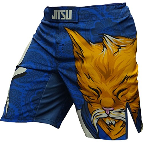 Jitsu Shorts Zen Cat - Men - MMA UFC Cage Fight Grappling-s Blue ()