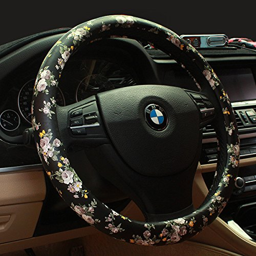 BINSHEO Anti Slip Universal 15 inch Car Steering Wheel Cover Women Girls Ladies
