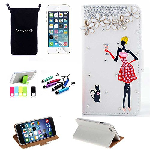 5C CASE AceNear(TM) For IPhone 5C Ultrathin Wallet Folio Stand Support Leather Case Series & Stand holder & Headset Dust Plug Capacitive Stylus & Screen Protector - cat girl white leather