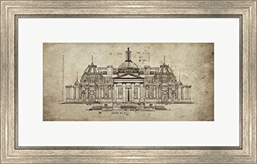 Exercise in Architechure by Sidney Paul and Co. Framed Art Print Wall Picture, Silver Scoop Frame, 25 x 16 inches