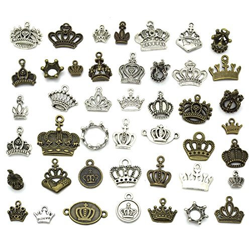 Crown Charms, JIALEEY Wholesale Bulk Lots Vintage Different Style Crown Shape Beads Pendants for Necklace Bracelet Jewelry Making and Crafting(Bronze&Silver)
