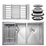Firebird 32'' x 18'' x 9'' Undermount Handmade Stainless Steel Double Bowl 60/40 Kitchen Sink w/ Drain Strainer Kit Adjustable Tray