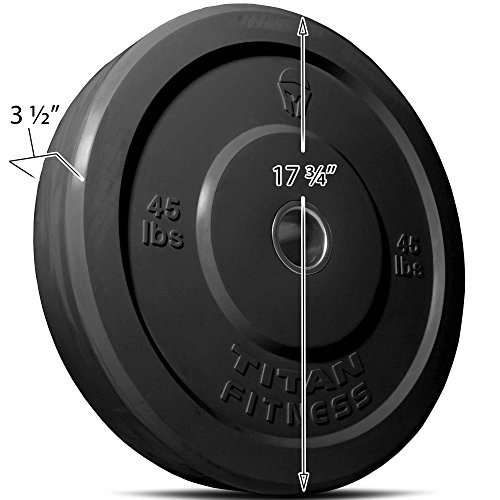 Titan Fitness 45 lb Olympic Bumper Plate Black Benchpress Strength Training