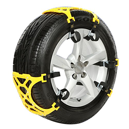 BestWare 1 Pcs Tire Chain Anti-Slip Wheel Chain Double Clip Mountain Road yellow