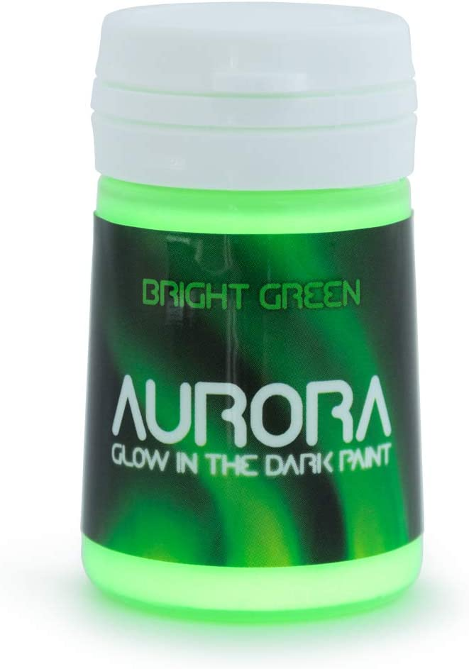 Glow in The Dark Paint, 0.68 fl oz (20ml), Aurora Bright Green, Non-Toxic, Water Based, by SpaceBeams