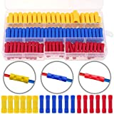 Hilitchi 140pcs Insulated Butt Splice Terminals Electrical Wire Crimp Connectors Set, Yellow, Blue, Red