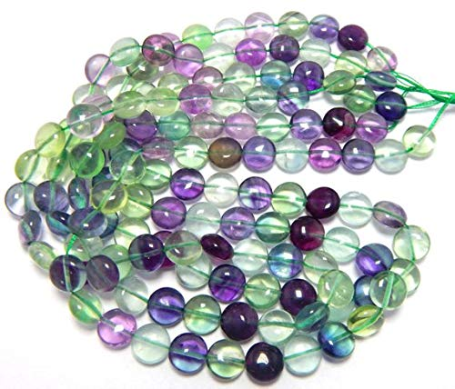 Gems World Beautiful Jewelry 10mm Genuine Rainbow Fluorite Puffed Coin Beads - 16 Inch Strand Code-COM-2563 (Beads Puffed Coin)