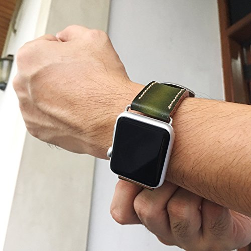Jade Green Apple Watch Band 38mm 42mm,Series 3 Series 2 Series 1,Hand-Stitched Handmade Apple Watch Leather - Apple Green Jade