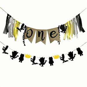 Awyjcas 1st Birthday Gold and Black Glitter Banner Where the Wild Things Are Inspired Banner Wild One Birthday Party Photo Prop Decorations