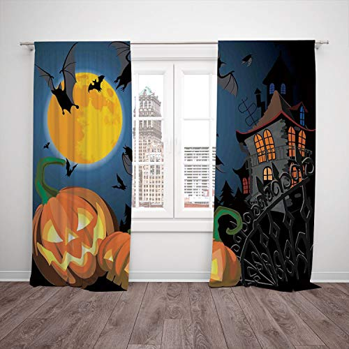 (Polyester Window Drapes Kitchen Curtains,Halloween Decorations,Gothic Halloween Haunted House Party Theme Decor Trick or Treat for Kids,Multi,Living Room Bedroom Kitchen Cafe Window Drapes 2 Panel)