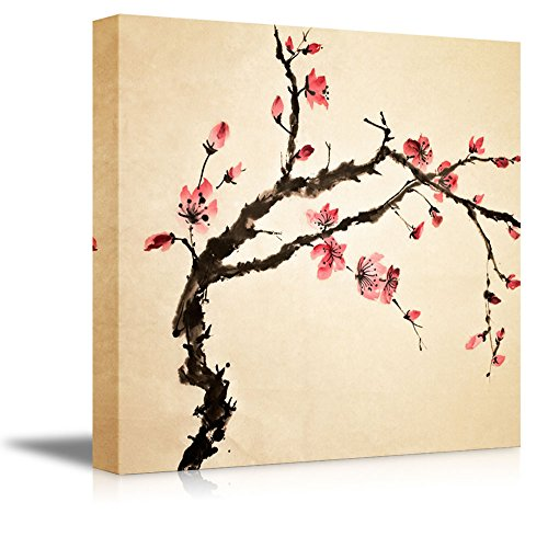 wall26 – Canvas Prints Wall Art – Japanese Cherry Blossoms Painting Modern Wall Decor Home Decoration Stretched Gallery Canvas Wrap Giclee Print. Ready to Hang – 24 x 24