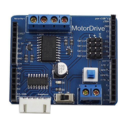 SunFounder Motor Driver Shield Expasion Board for Arduino, Drive DC Motor, Stepping Motor and Servo