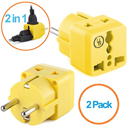 Euro Barrier (Yubi Power 2 in 1 Universal Travel Adapter with 2 Universal Outlets - Built in Surge Protector - 2 Pack - Yellow - Shucko Type E / F for France,)