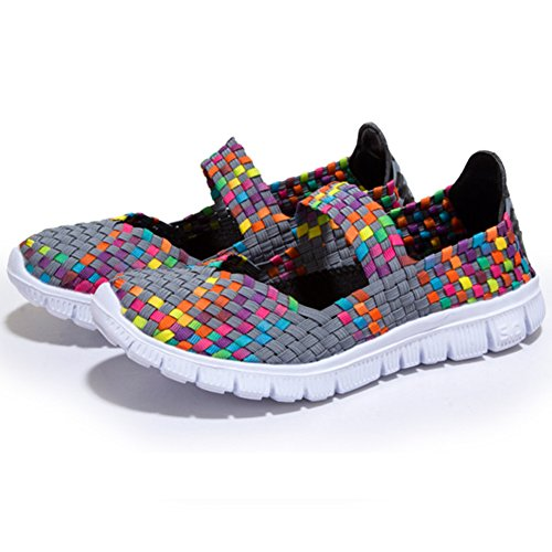 L-RUN Women Water Shoes Woven Light Weight Slip On Sports Shoes Casual Grey hg1ySiqXVf