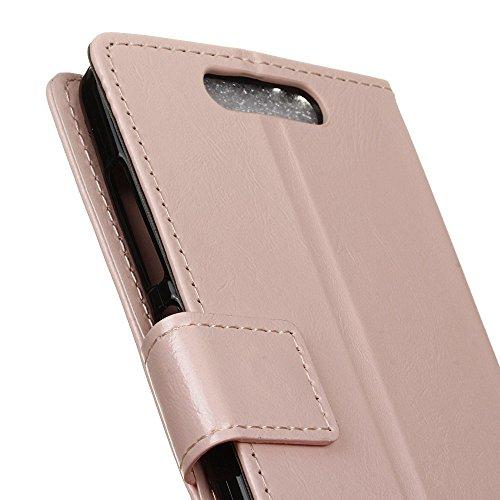 Lusee® PU Caso de cuero sintético Funda para ZTE Blade V8 Cubierta con funda de silicona botón caballo Loco patrón Rosa