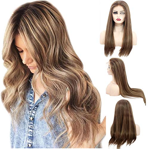 Balayage Pre Plucked Human Hair Lace Front Wig Medium Brown with Strawberry Blonde Highlights Ombre Human Hair Wigs Free Part 150% Density Brazilian Remy Straight Glueless Lace Wig for Women 14 Inch (Dark Brown Hair With Blonde Ombre Highlights)