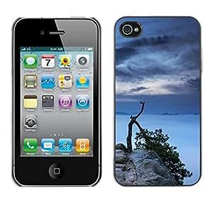 // PHONE CASE GIFT // Duro Estuche protector PC Cáscara Plástico Carcasa Funda Hard Protective Case for iPhone 4 / 4S / Lago Árbol /