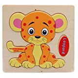 Children's Educational Toys World Wooden 3D Three-dimensional Jigsaw Baby Puzzle Toys, Little leopar