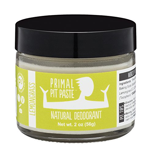Primal Pit Paste All Natural Lemongrass Deodorant | 2 Ounce Jar | No Aluminum, No Parabens | for Women and Men of All Ages | Non-GMO, Cruelty Free, Earth Friendly, (Lemongrass Deodorant)