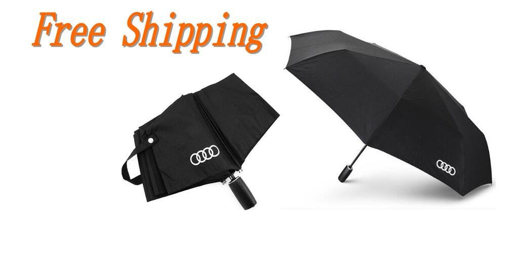 Audi genuine leather handle Japanese brand sun rain Umbrella 3 Fold Anti UV French royal umbrella men women (Black)