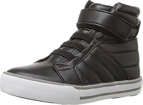 Black Stretch Nappa Footwear - Amiana Girl's 15-A5408 (Toddler/Little Kid/Big Kid/Adult) Black Stretch Nappa Sneaker 34 (US 4 Big Kid) M