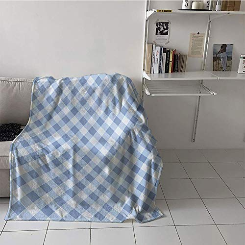 Khaki home Children's Blanket Printing Oversized Travel Throw Cover Blanket (35 by 60 Inch,Geometric,Diamond Rhombus Pattern Checkered Grid Style Mosaic Composition,Slate Blue and Baby Blue
