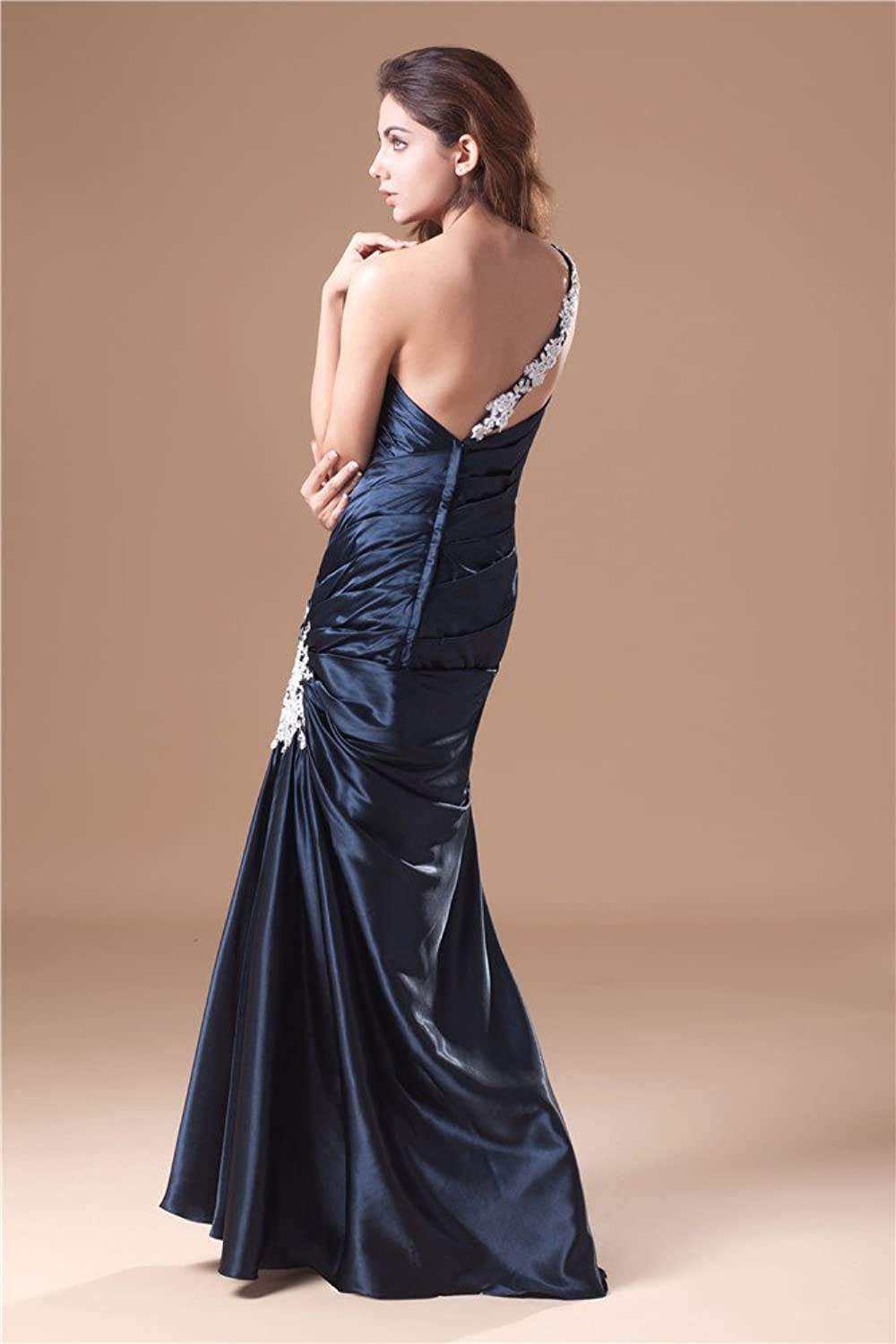 Jspoir Melodiz Women's Brilliant One Shoulder Satin Slim Line Gown