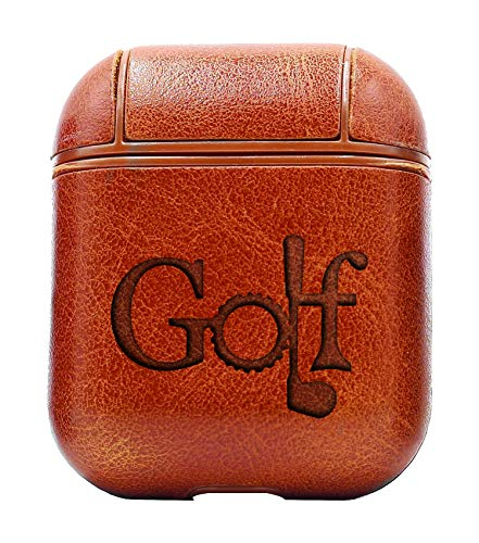 (Golf Text ICON (Vintage Brown) Air Pods Protective Leather Case Cover - a New Class of Luxury to Your AirPods - Premium PU Leather and Handmade exquisitely by Master Craftsmen)