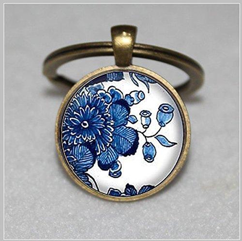 Delft Pottery Art Keychain ,Blue & White Keychain,Delft Keychain,Unique Key Ring Customized Gift,Everyday Gift Key Chain