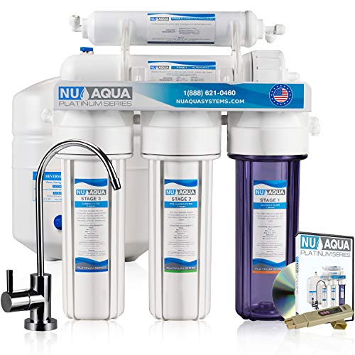 NU Aqua Platinum Series Deluxe High Capacity 100GPD 5-Stage Under Sink Reverse Osmosis Ultimate Purifier Drinking Water Filter System - Bonus PPM Meter
