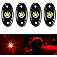Amak 4 Pods LED Rock Light Kit for Jeep ATV SUV Offroad Car Truck Boat Underbody Glow Trail Rig Lamp Underglow LED Neon Lights Waterproof -Red